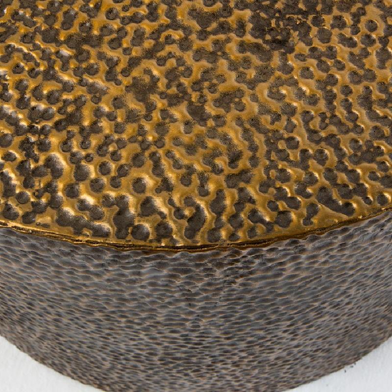 Set 3 Table d'appoint, bout de canapé 76x76x51, 60x60x42, 51x51x36 Métal Or Noir - image 53639