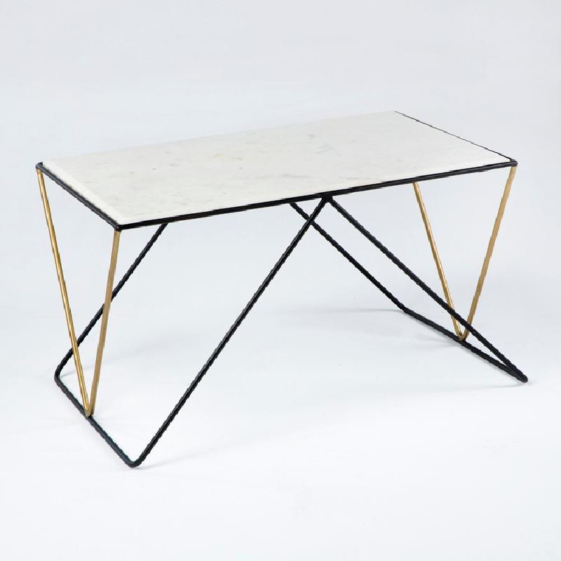 Table basse 76x51x43 Marbre Blanc Métal Noir Doré
