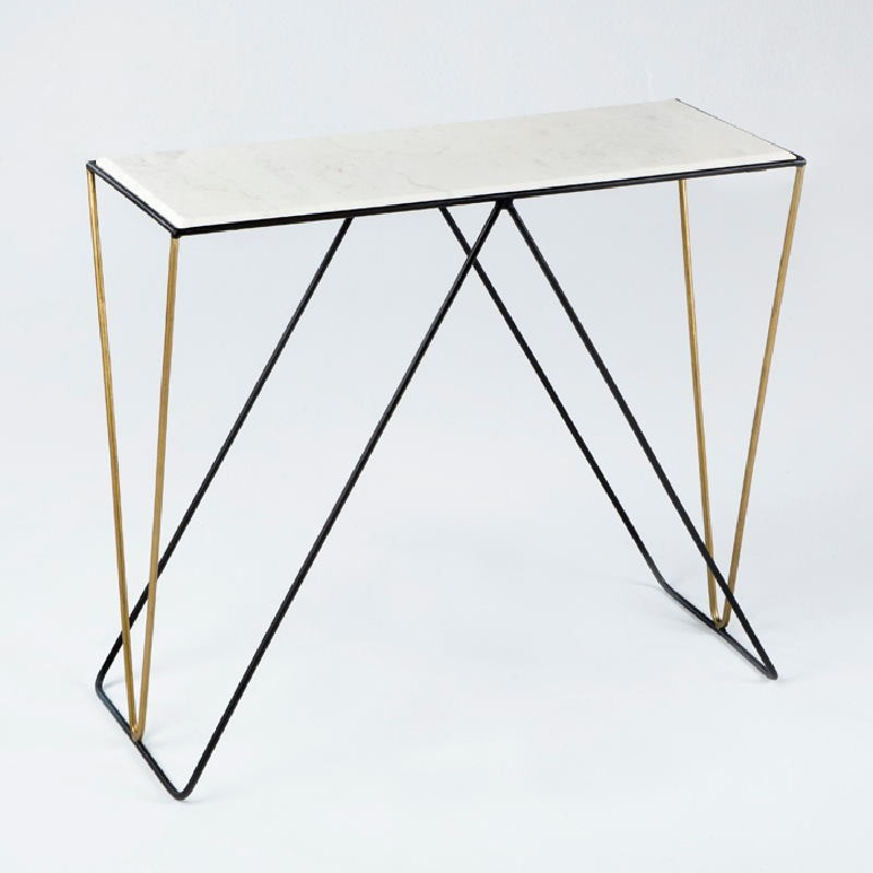 Console 89X33X76 Marble White Metal Black Golden