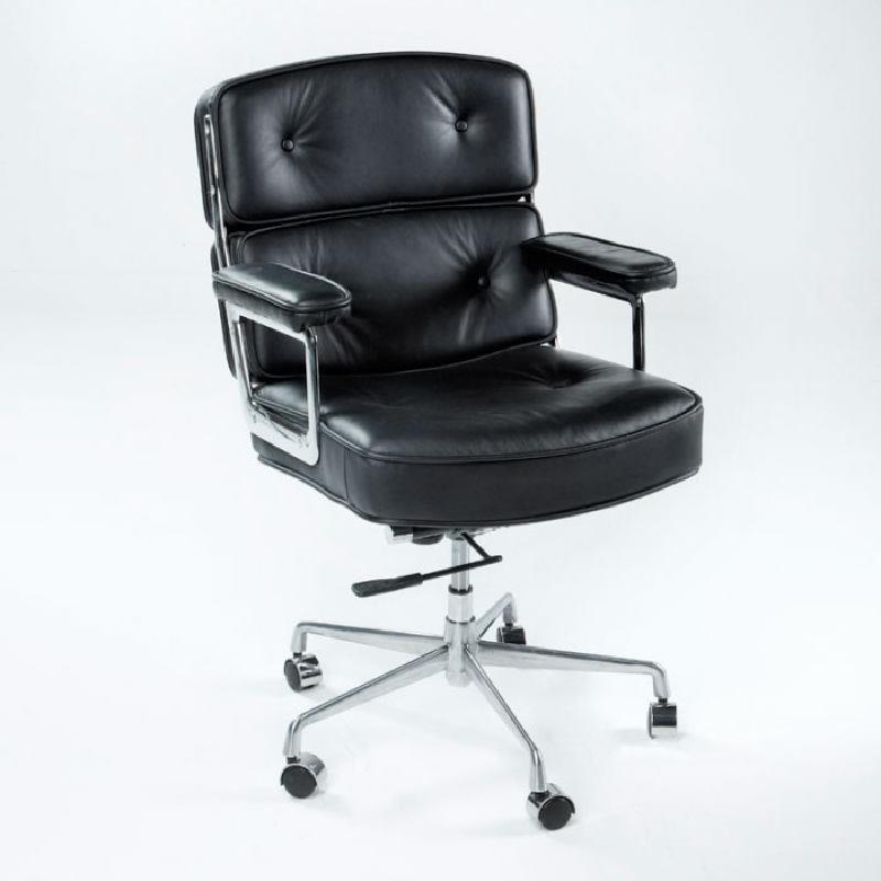 Chaise de Bureau réglable 64 x 60 x 93 99 cm Cuir Métal Noir - image 53652