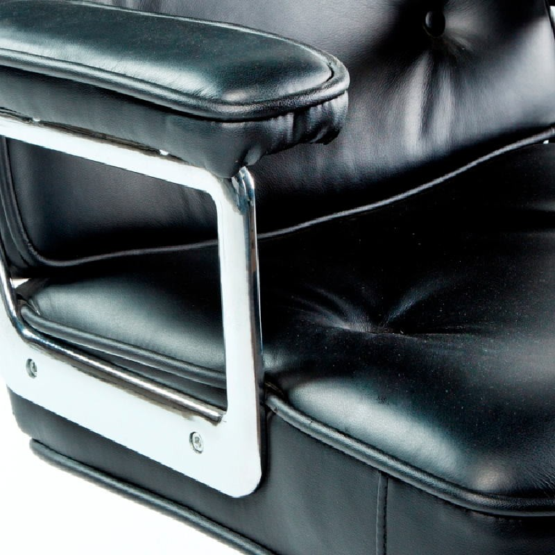 Office Adjustable Chair 64 X 60 X 93 99 Cm Leather Metal Black - image 53658