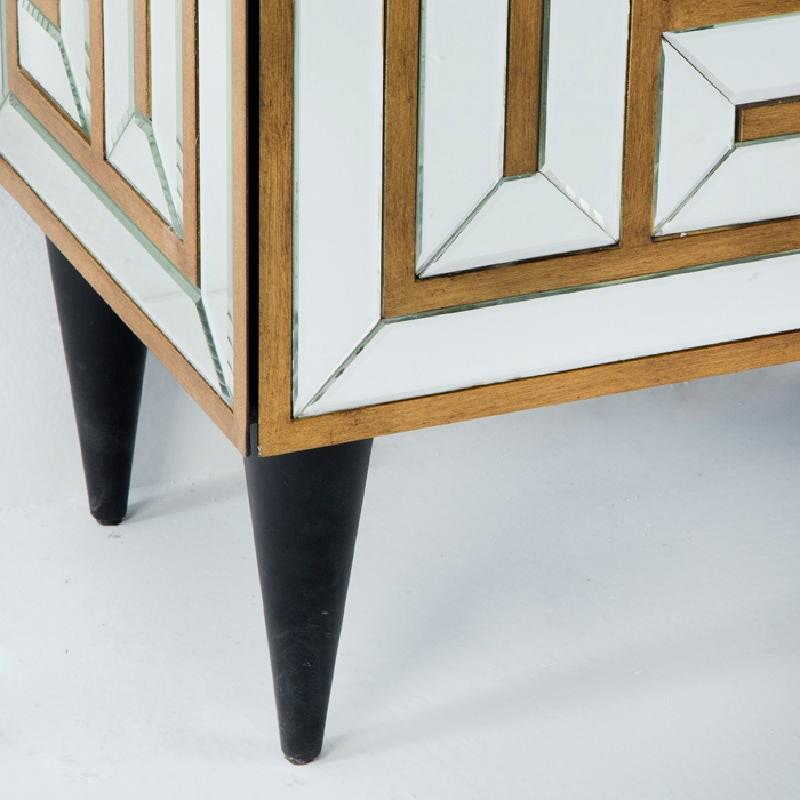 Sideboard 2 Doors 76X37X81 Mirror Mdf Golden - image 53668