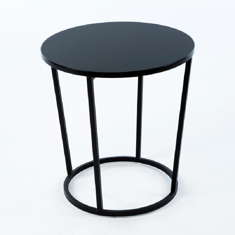 Table d'appoint, bout de canapé 50x50x54 Métal MDF Noir