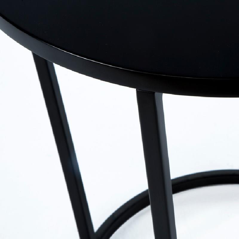 Table d'appoint, bout de canapé 50x50x54 Métal MDF Noir - image 53697