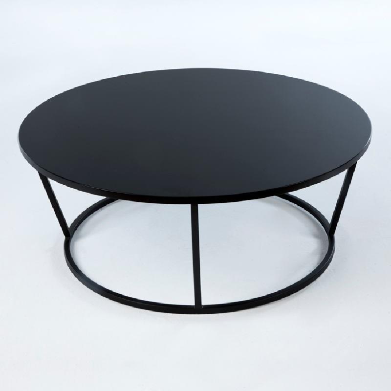 Table basse 90x90x35 Métal MDF Noir