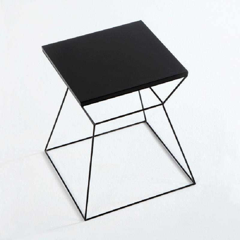 Table d'appoint, bout de canapé 43x43x45 Métal MDF Noir