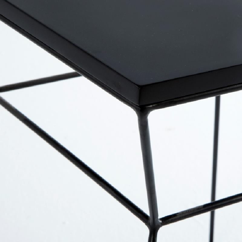 Table d'appoint, bout de canapé 43x43x45 Métal MDF Noir - image 53719