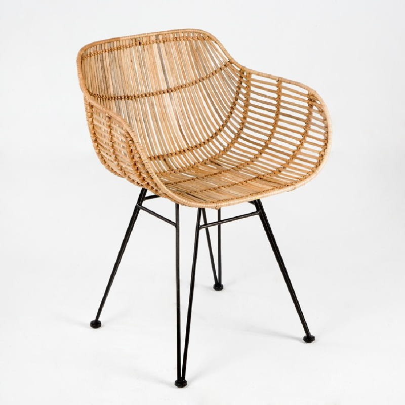 Chair 55X53X73 Metal Wicker Natural - image 53720