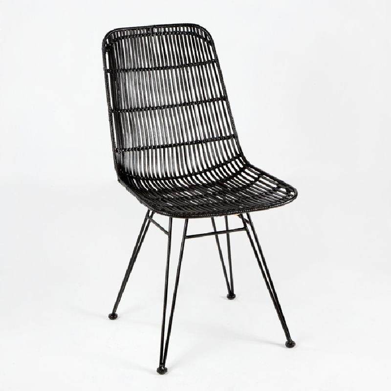Chaise 57x45x88 Métal Osier Noir