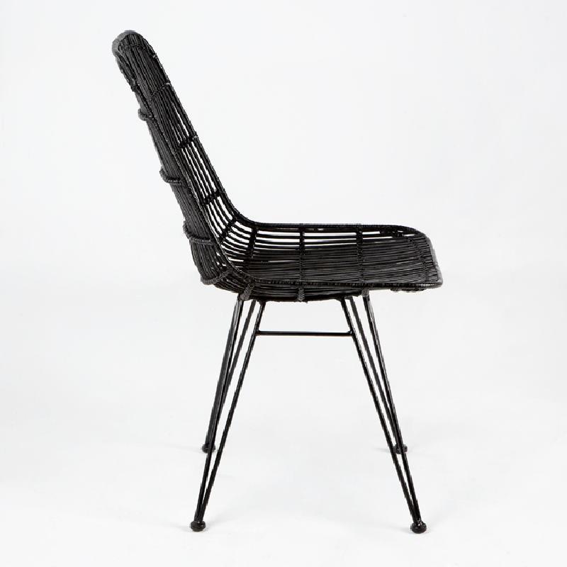 Chair 57X45X88 Metal Wicker Black - image 53730