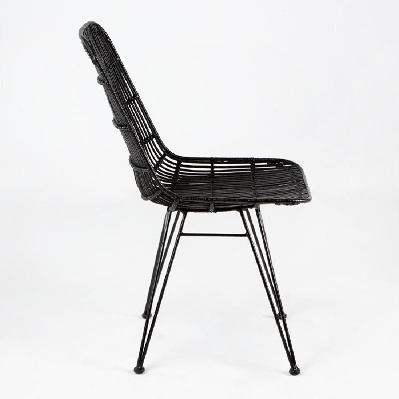Chaise 57x45x88 Métal Osier Noir - image 53730