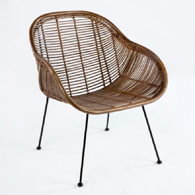 Chair 53X71X81 Metal Wicker Brown - image 53731