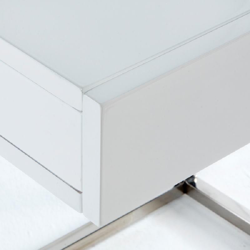 Table de chevet 50x40x54 Acier MDF Blanc - image 53740