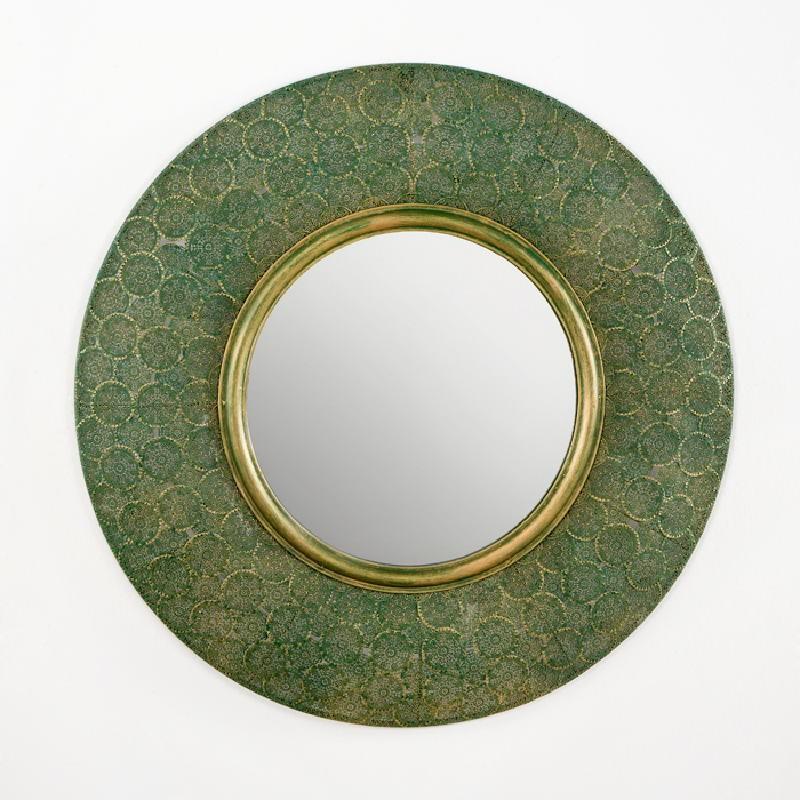 Spiegel 86X5X86 Metall Gold/Grün