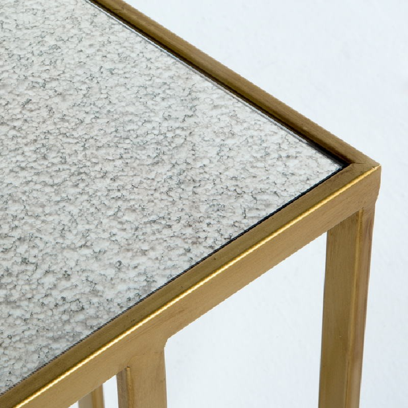 Auxiliary Table 62X28X61 Metal Gold Mirror Aged - image 53771