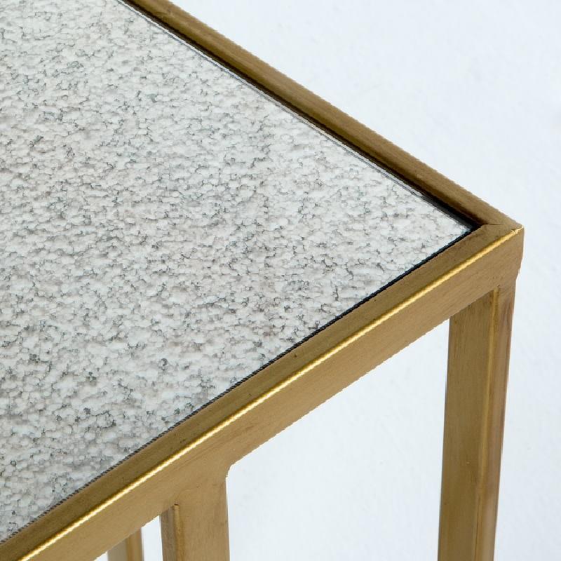 Table d'appoint, bout de canapé 62x28x61 Métal Or Miroir Vieilli - image 53771