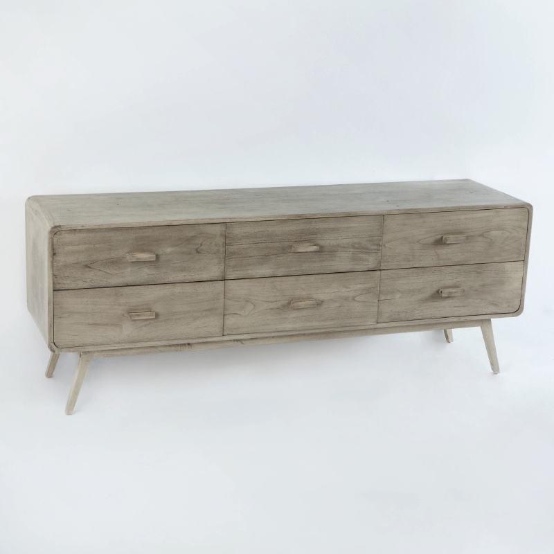 Sideboard 200X50X75 Gebleichtes Graues Holz