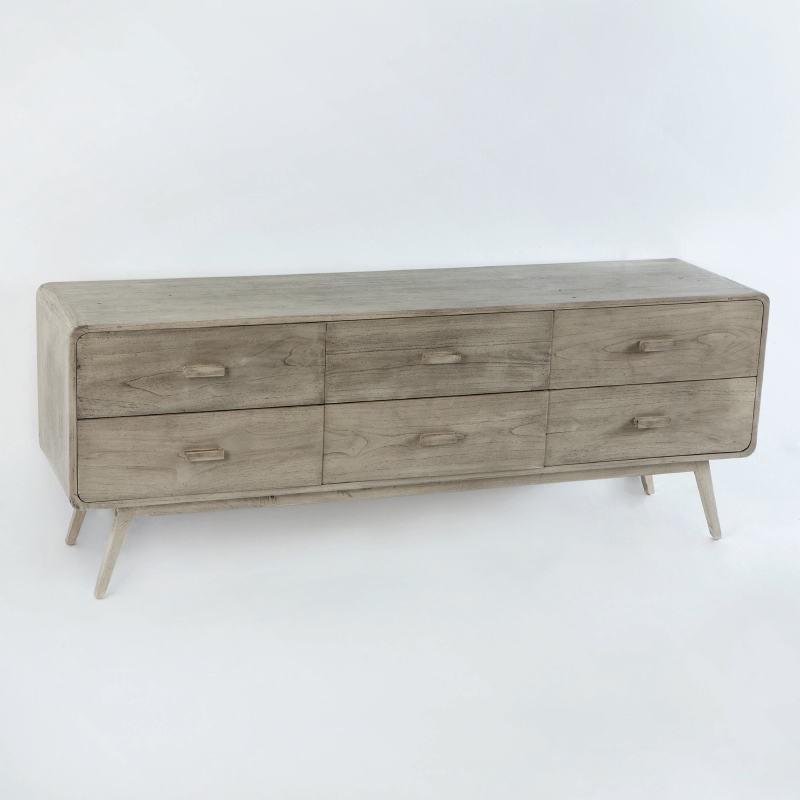 Sideboard 200X50X75 Gebleichtes Graues Holz - image 53784