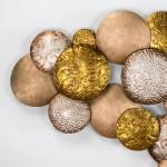 Escultura 127X8X76 Metal Plata Oro Cobre