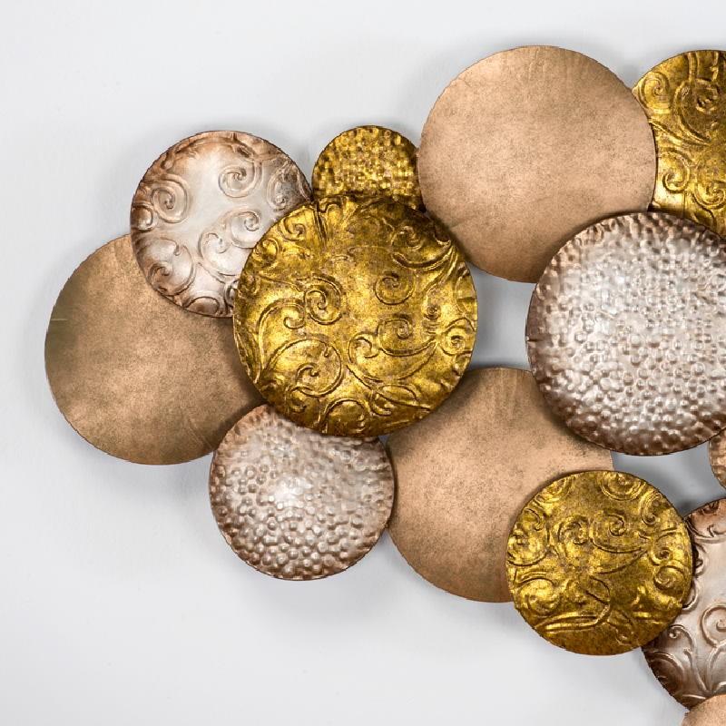 Wandskulptur 127X8X76 Metall Silber Gold Kupfer - image 53798