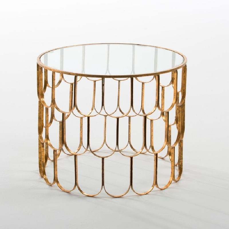 Auxiliary Table 54X43 Glass Metal Golden - image 53813