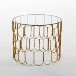 Hilfstisch 54X54X43 Glas / Metall Golden