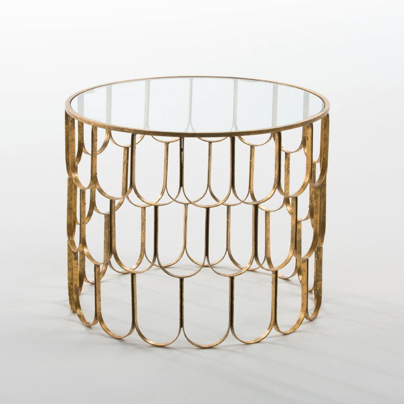 Auxiliary Table 54X43 Glass Metal Golden - image 53814
