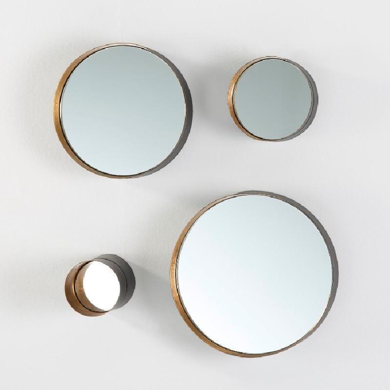 Set 4 Miroirs 30x8 25x8 15x8 10x15 Métal Noir Or