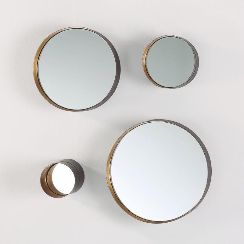 Set 4 Spiegel 30X8 25X8 15X8 10X15 Metall Schwarz Gold - image 53823