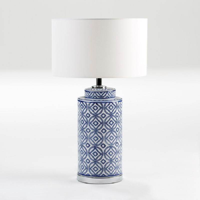 Lampe de Table sans abat-jour 20x51 Céramique Blanc Bleu