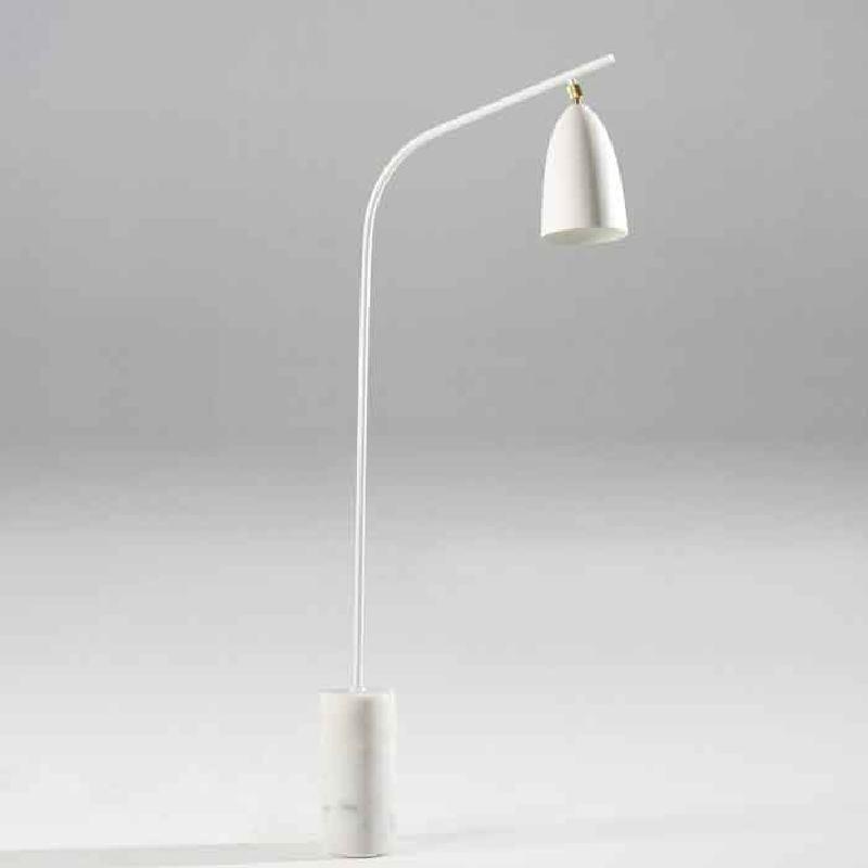Lampada A Stelo Con Paralume 62X15X150 Marmo Metallo Bianco
