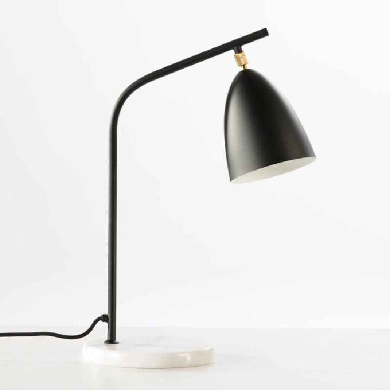 Lámpara De Sobremesa Con Pantalla 37X22X54 Mármol Metal Negro