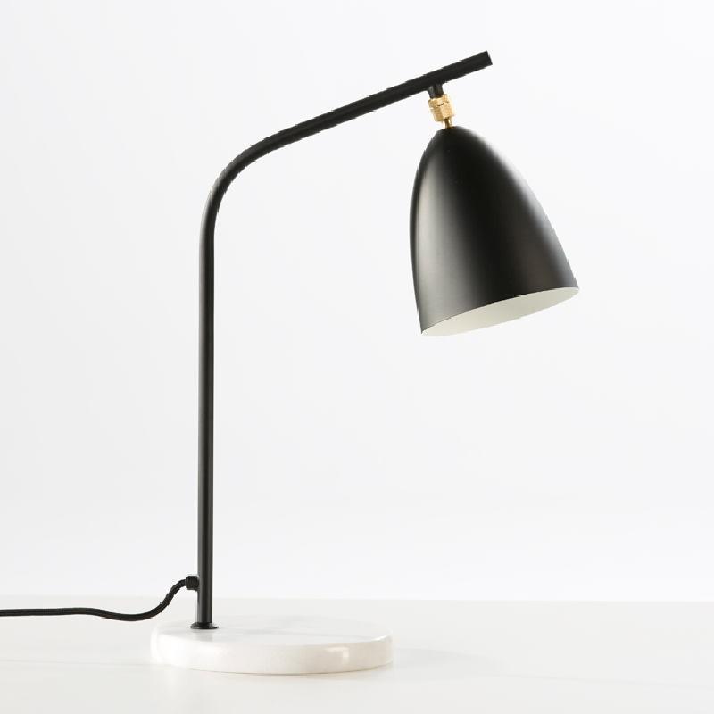 Lampe de Table avec abat-jour 37x22x54 Marbre Métal Noir