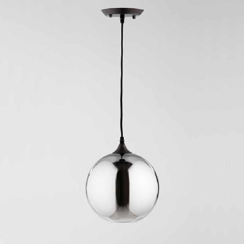 Lampe suspendue avec abat-jour 24x28 Verre Gris avec ampoule
