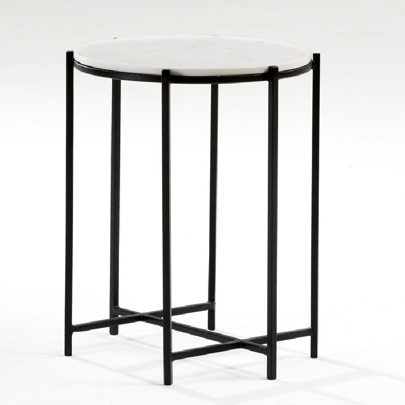 Table d'appoint, bout de canapé 43x53 Métal Noir Marbre Blanc - image 53881