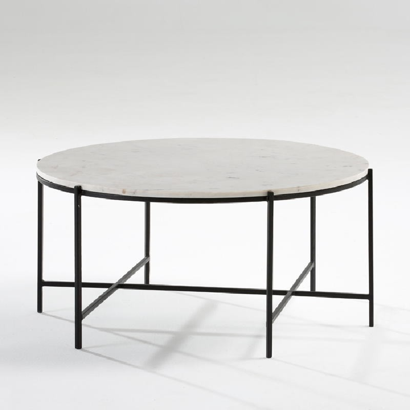 Coffee Table 86X41 Metal Black Marble White - image 53884