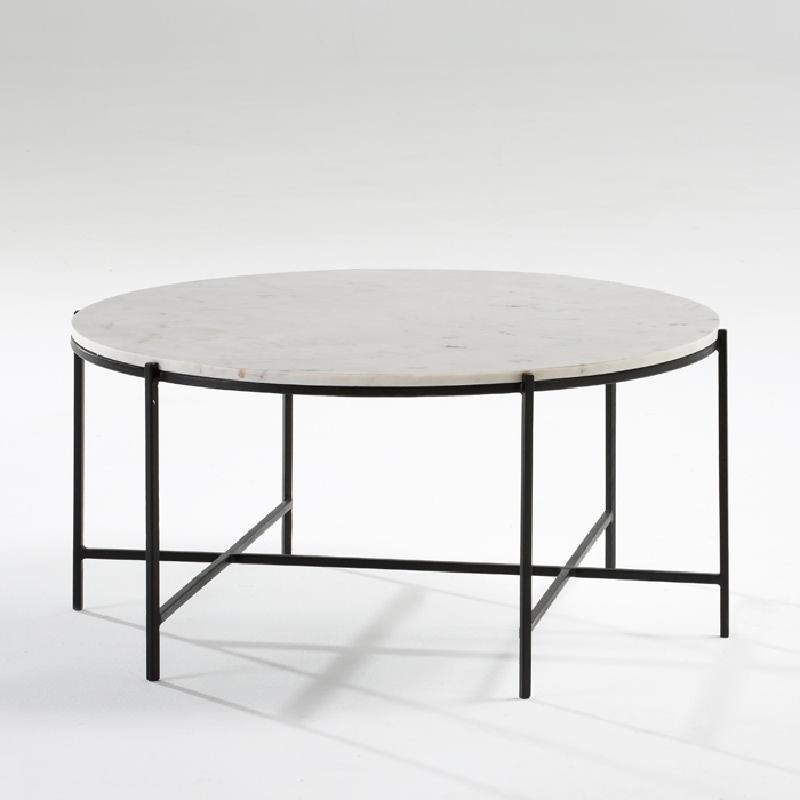 Table basse 86x41 Métal Noir Marbre Blanc - image 53884