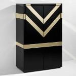 Bar Furniture 88X45X140 Glass Black Mirror Golden