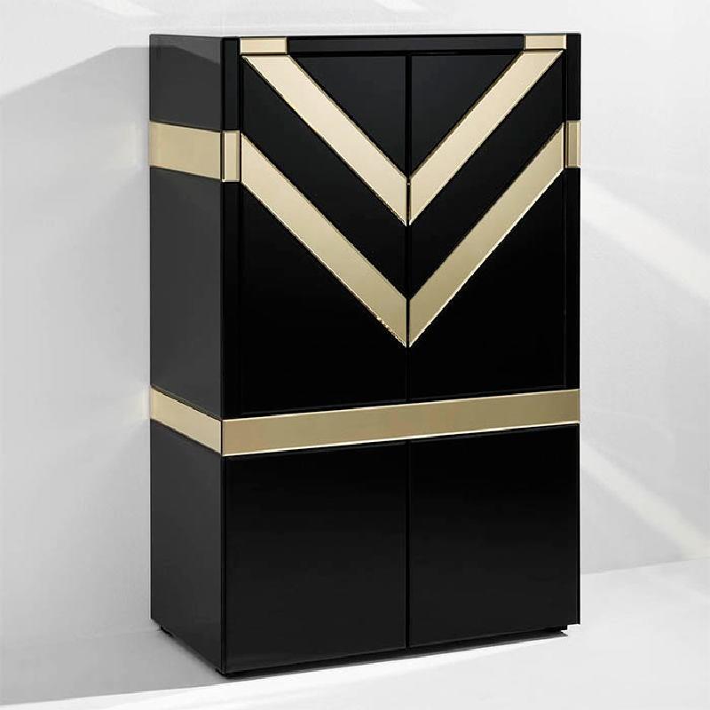 Mueble Bar 88X45X140 Cristal Negro Espejo Dorado - image 53891