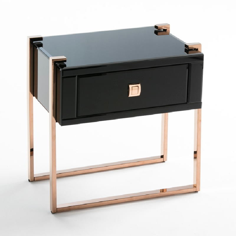 Bedside Table 54X40X56 Rose Gold Stainless Glass Black - image 53895