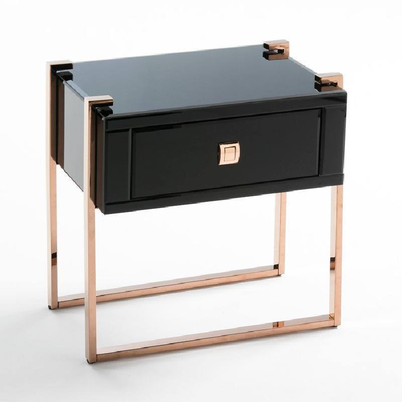 Table de chevet 54x40x56 Acier Or Rose Verre Noir - image 53895