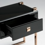 Bedside Table 54X40X56 Rose Gold Stainless Glass Black