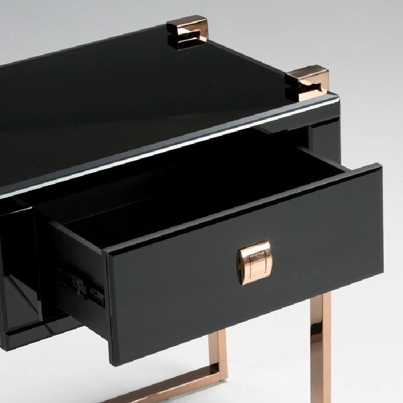 Table de chevet 54x40x56 Acier Or Rose Verre Noir - image 53896