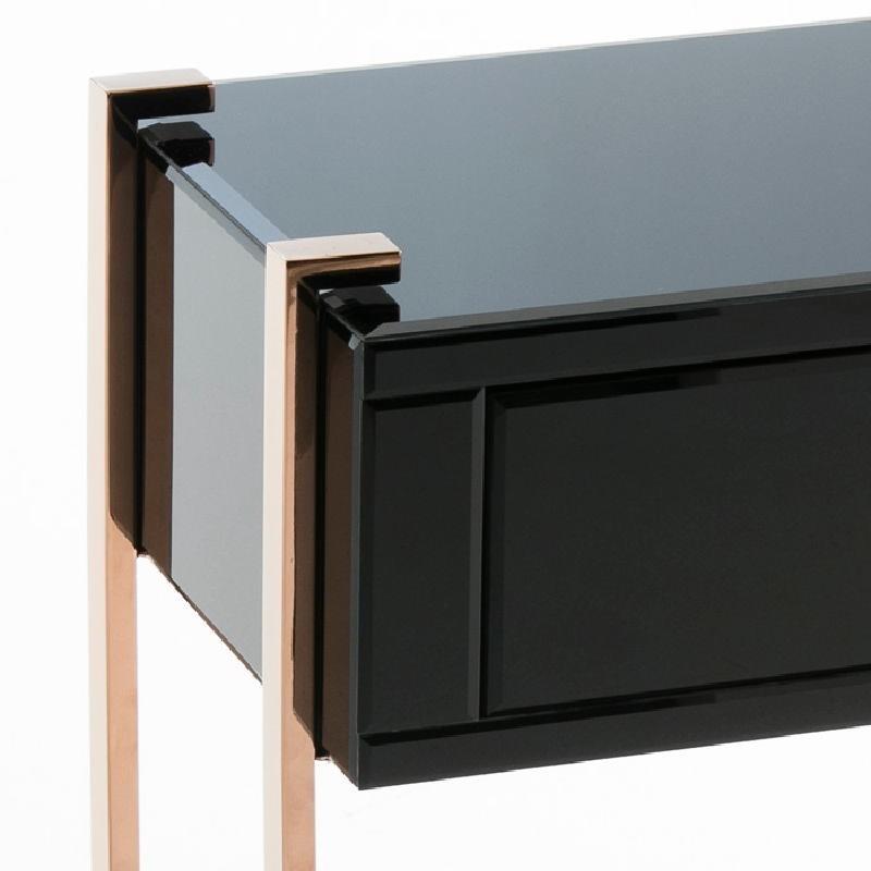Table de chevet 54x40x56 Acier Or Rose Verre Noir - image 53897