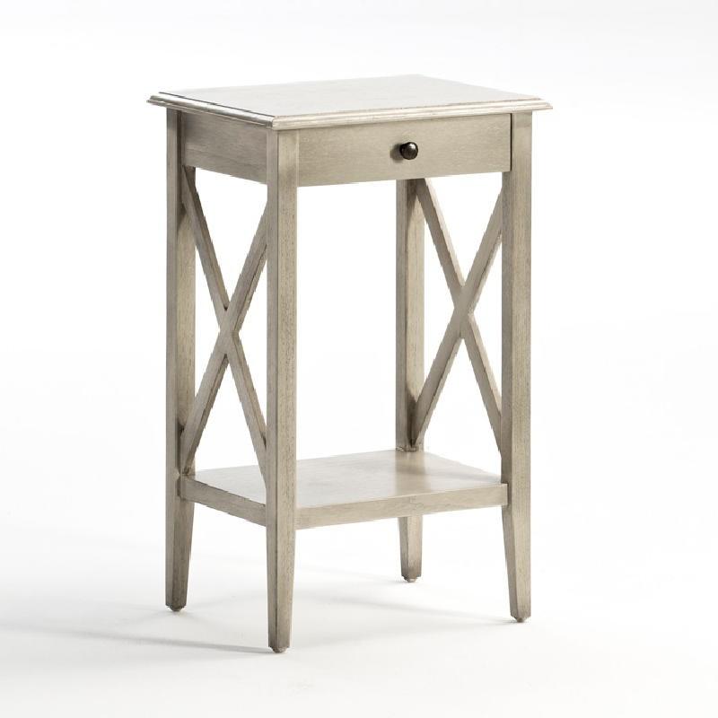 Table de chevet 42x35x70 Bois Gris blanchi