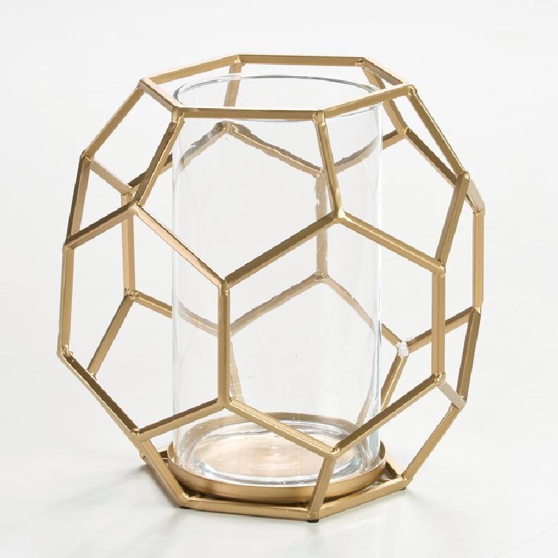 Portavela 25X22X23 Cristal Metal Dorado