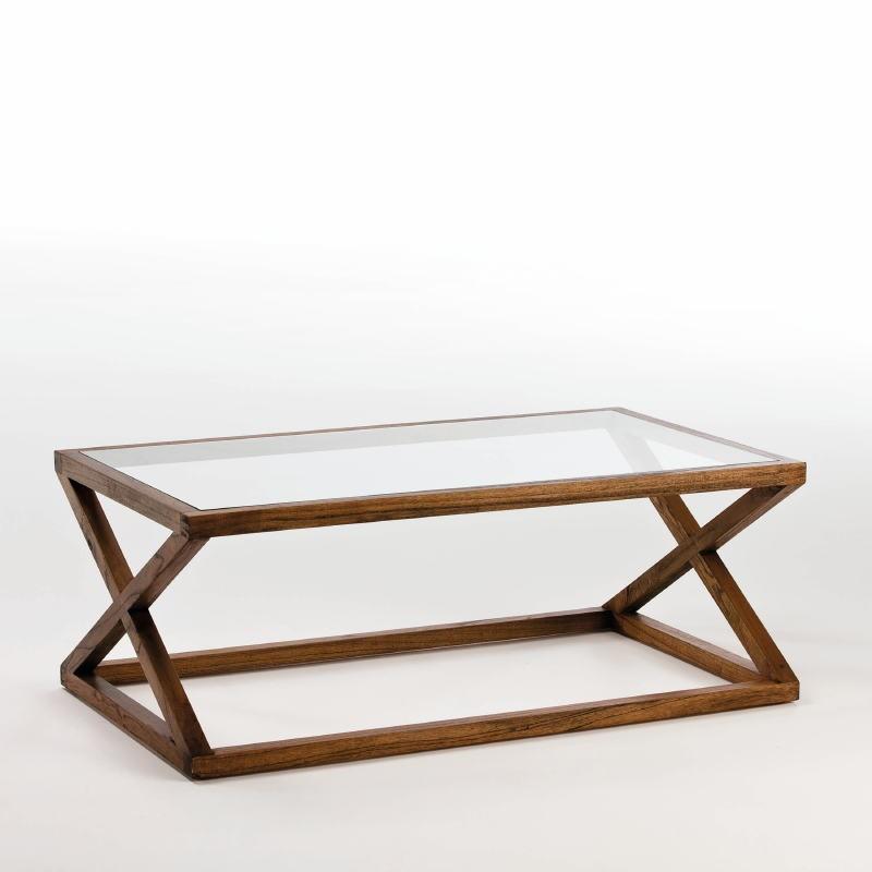 Coffee Table 120X70X45 Glass Wood Natural Veiled - image 53913