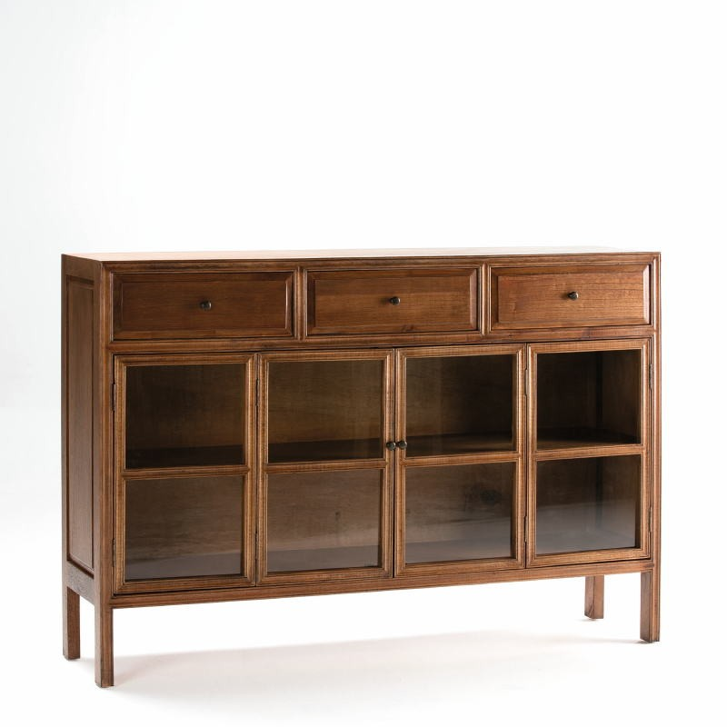 Sideboard 160X40X110 Glass Wood Natural Veiled - image 53917