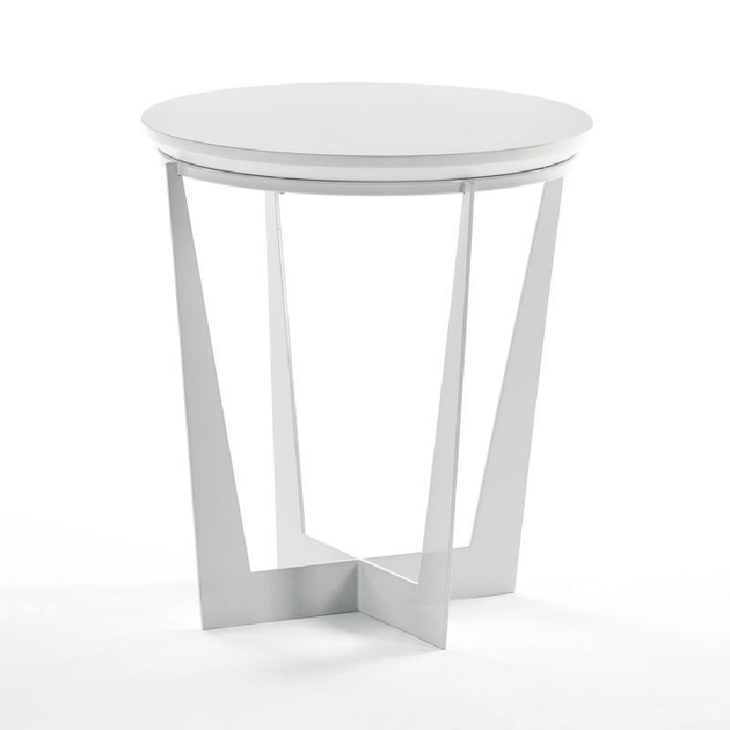 Beistelltisch, Beistelltisch 50X50X55 Metall Mdf Weiß