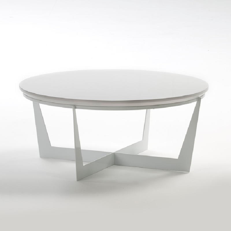 Table basse 90x90x38 Métal MDF Blanc